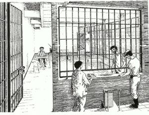 """Dibujo realizado por un prisionero politico en los 90, del """"hall"""" o comedor de los modulos del C.A.S"""